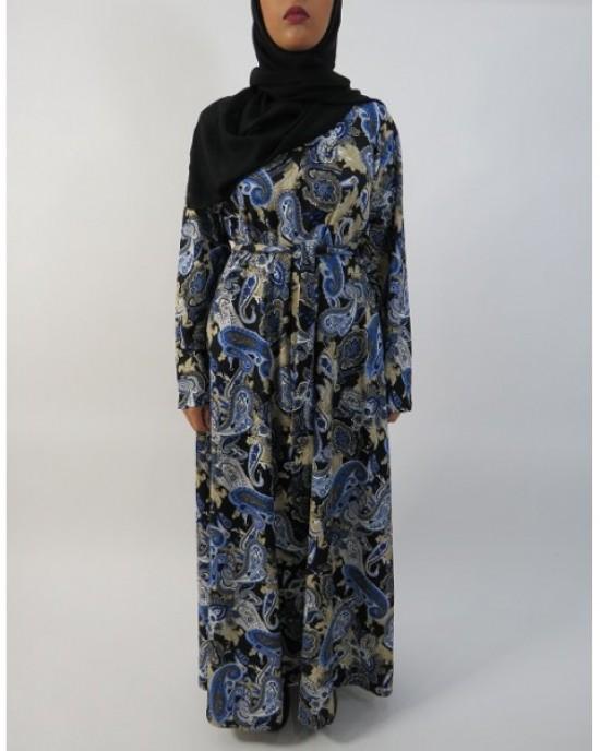 Amani's Blue and Cream Long Sleeve Maxi Dress UK - Long Sleeve Maxi Dresses