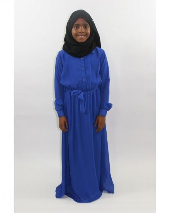 Amani's Blue long Sleeve Kids Maxi Dress Style UK