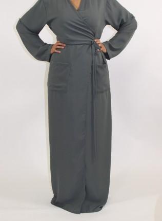Amani's Grey 1 Piece Wrap Jacket style UK