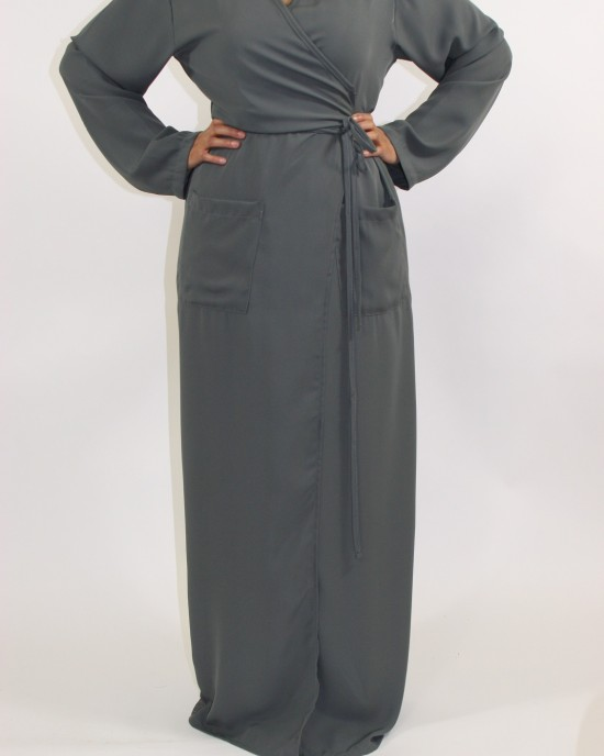Amani's Grey 1 Piece Wrap Jacket style UK - Jackets - TrouserJacket002