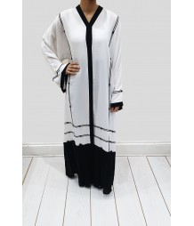 Black and White open abaya