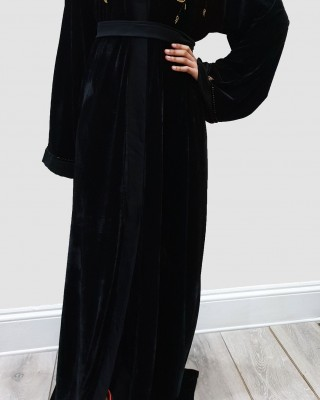 BLACK AND GOLD VELVET OPEN ABAYA