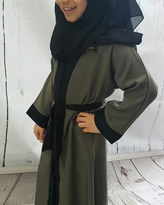 Kids Open Abaya Jacket Style KD002 - Childrens Abayas - KD002