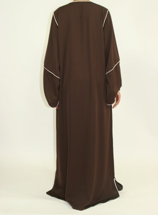 Amani's Dark Brown Long Sleeve Maxi Jacket Style UK