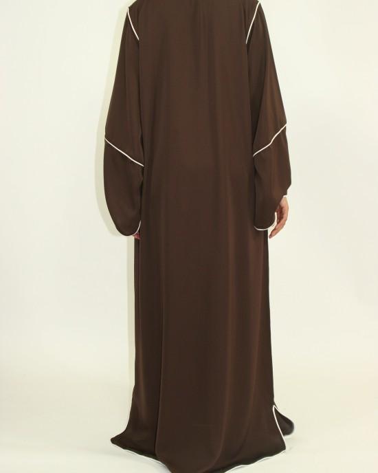 Amani's Dark Brown Long Sleeve Maxi Jacket Style UK - Jackets - Jacket010