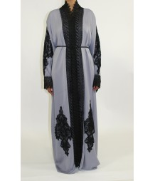 Grey Open Front Abaya Style AUG016 UK