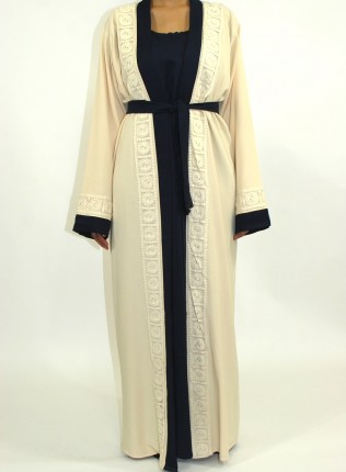 Amani's Cream Open Abaya Style With Attached Inner Piece