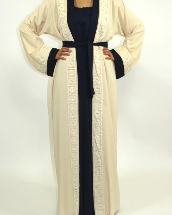 Amani's Cream Open Abaya Style With Attached Inner Piece - Abayas - Abaya077