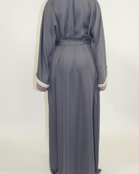 Amani's Grey Open Abaya Style UK With Attached Inner Piece - Abayas - Abaya078