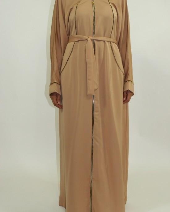 Amani's Gold With Lined Zip Open Abaya Jacket Style UK - Abayas - Abaya074