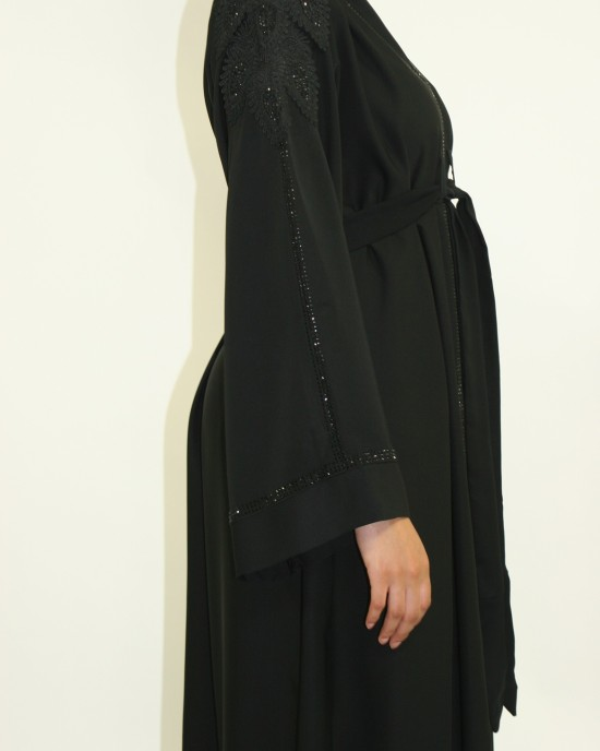 Amanis open black abaya jacket style uk - Abayas - AM010