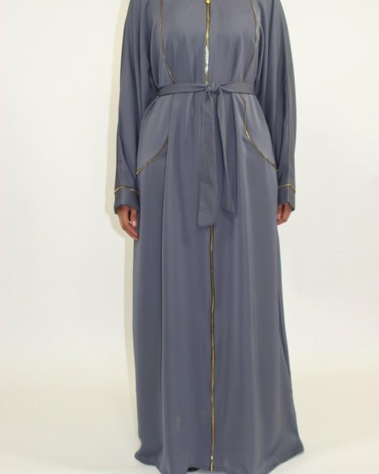 Nathifa Grey Open Abaya Jacket Style AUG006 - Abayas - AUG006
