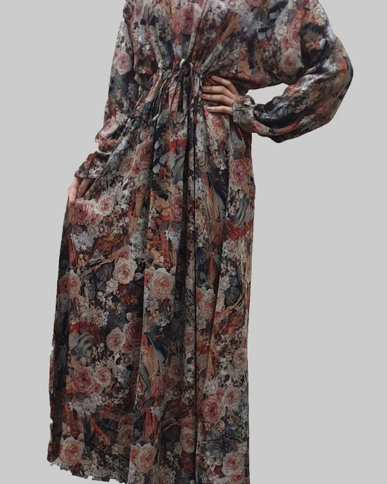 Amber soft printed cotton casual floral maxi dress - Long Sleeve Maxi Dresses - DRESS002