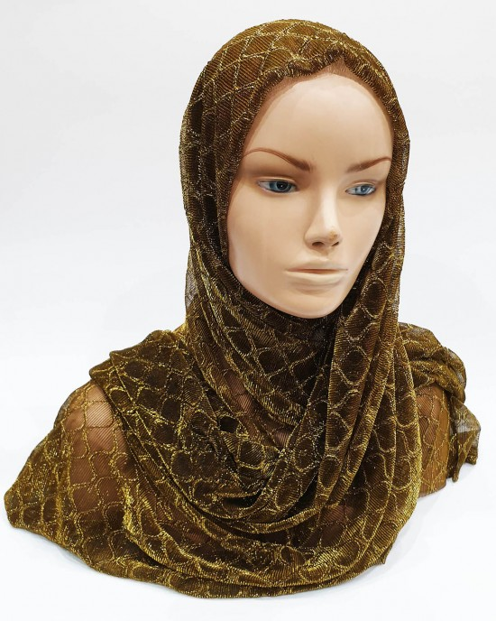 Copper Gold Metallic Iridescent Hijab - Occasion Hijabs - HIJAB209