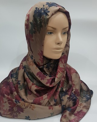 Autunm Leaves Duchess Satin scarf - Hijab Style