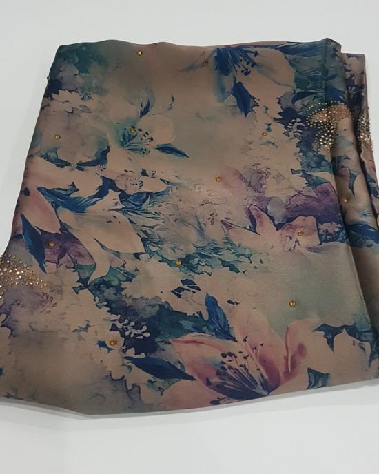 Shades of Blue Duchess Satin Scarf - Hijab Style - Occasion Hijabs - HIJ615