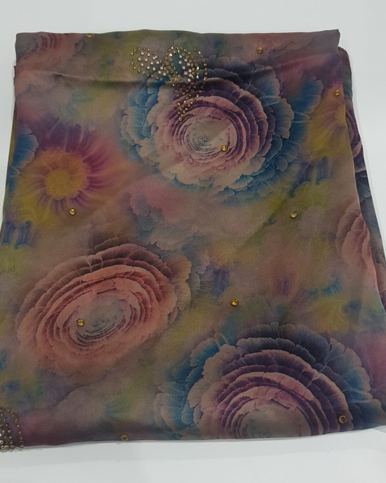 Rainbow Peony Duchess Satin Scarf - Hijab Style - Occasion Hijabs - HIJ616