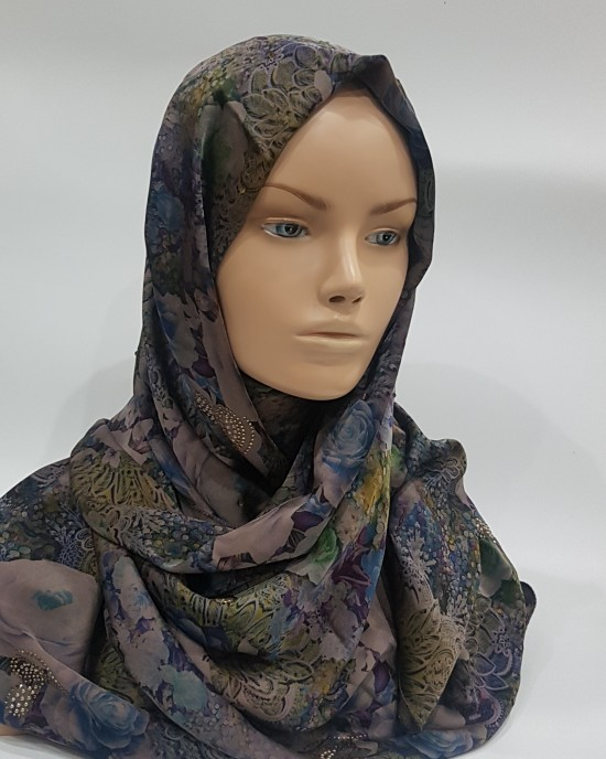 Blue Rose Duchess Satin scarf - Hijab Style - Occasion Hijabs - HIJ617