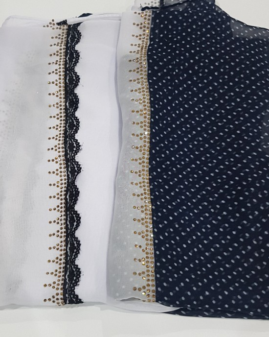 Anan Navy and White Evening Scarf - Hijab Style - Occasion Hijabs - HIJ622