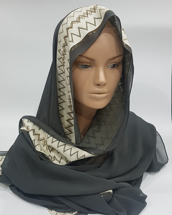 Grey Evening Scarf - Hijab Style - Occasion Hijabs - HIJ626