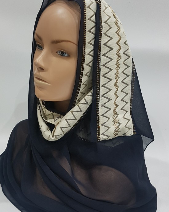Navy Blue Evening Scarf - Hijab Style - Occasion Hijabs - HIJ625