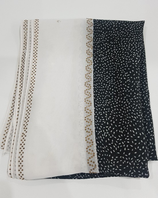 Anan Black and White Evening Scarf - Hijab Style - Occasion Hijabs - HIJ623