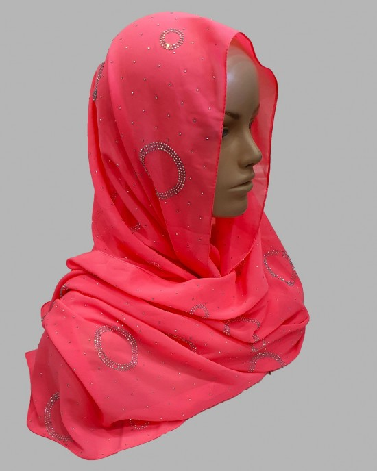 Amal Occasion Hijab - Bright Coral - Scarf - Occasion Hijabs - HIJ632