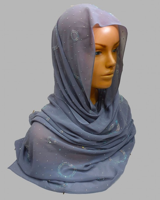 Amal Occasion Hijab - Grey - Scarf - Occasion Hijabs - HIJ628