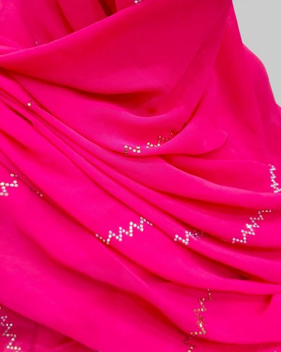 Crystal Embellishment Esmi Occasion Hijab - Hot Pink - Scarf - Occasion Hijabs - HIJ638