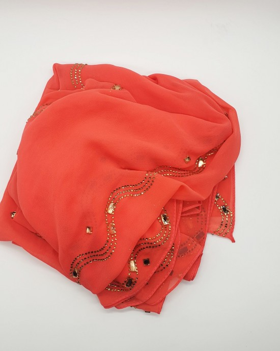 Nayla Occasion Hijab - Coral - Scarf - Occasion Hijabs - HIJ643