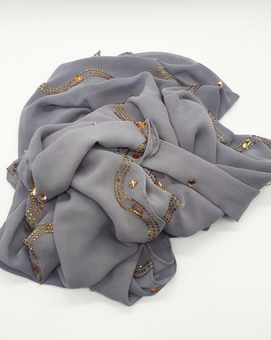 Nayla Occasion Hijab - Grey - Scarf - Occasion Hijabs - HIJ644