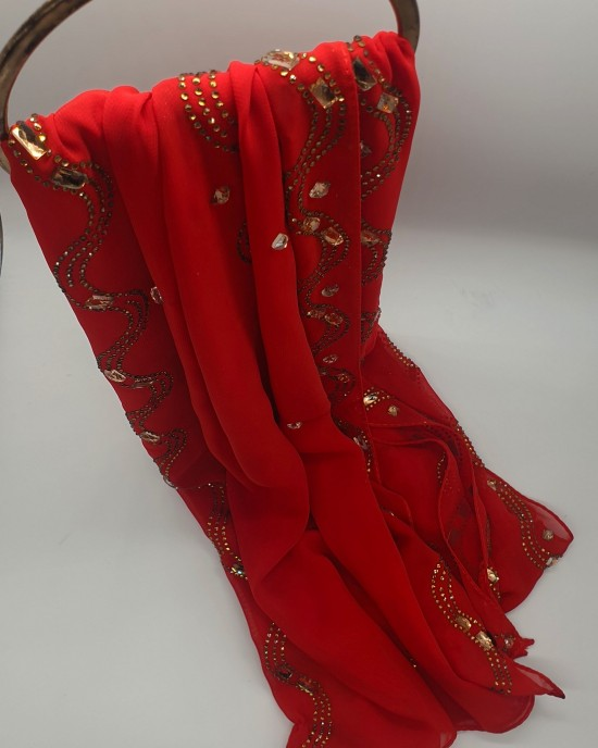 Nayla Occasion Hijab - Red Scarf - Occasion Hijabs - HIJ646
