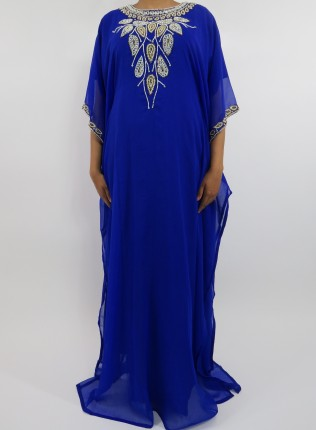 Amani's Blue Short Sleeve Moroccan Occasion Kaftan – Caftan Maxi Dress Styles UK