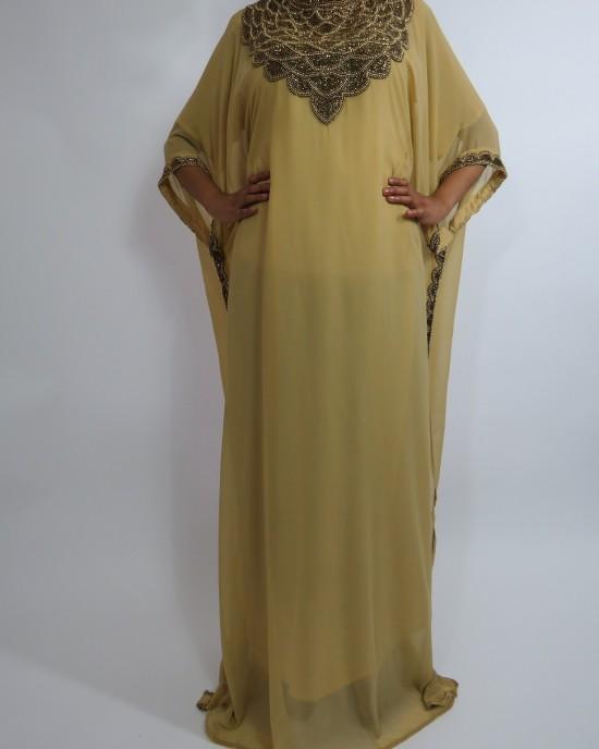 Amani's Short Sleeve Caramel Moroccan Occasion Kaftan – Caftan Maxi Dress Styles UK - Occasion Kaftans - Kaftan020
