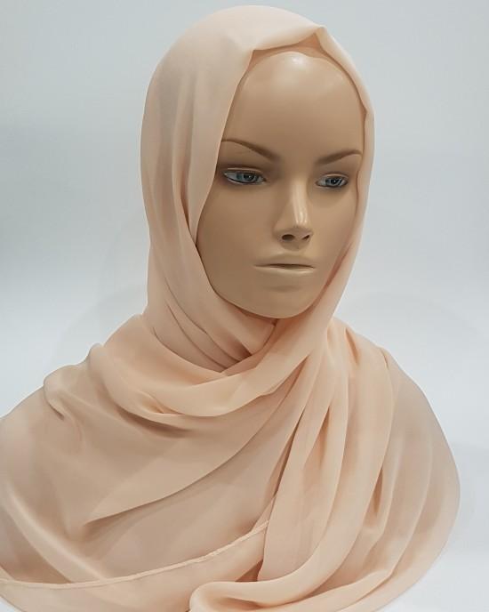 Elegant Soft Georgette Hijab - Peach - Scarf - Everyday Hijabs - HIJ605