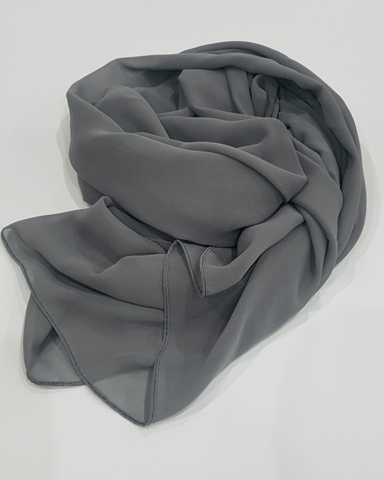 Georgette Hijab - Grey - Scarf - Everyday Hijabs - hij019