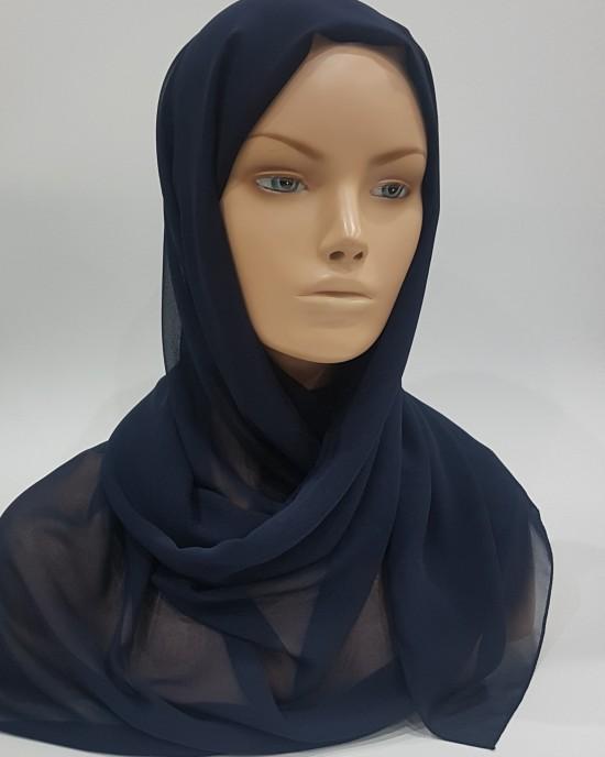 Elegant soft Georgette Hijab - Navy Blue - Scarf - Everyday Hijabs - HIJ008