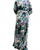 Grey printed kids long sleeve maxi dress umbrella cut - Childrens Dresses - TIA001