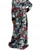 Burgundy printed kids long sleeve maxi dress umbrella cut - Childrens Dresses - TIA002