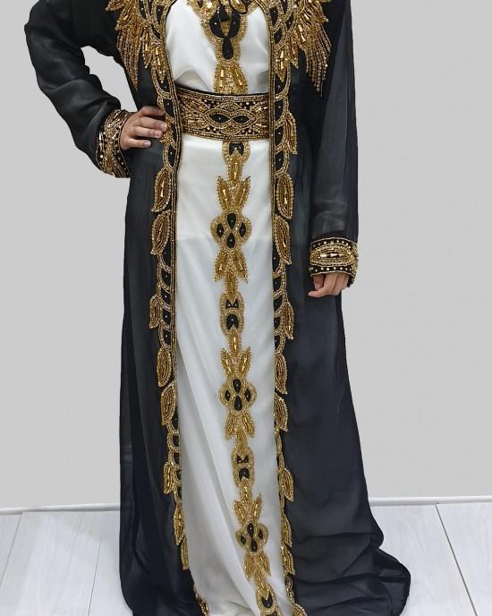 SAADAT BLACK AND GOLD MOROCCAN KAFTAN - Occasion Kaftans - KAFTAN2020
