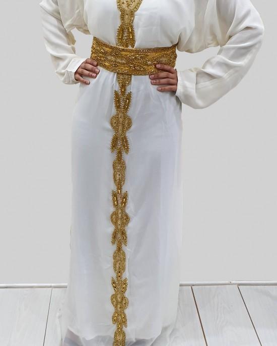 SAAT CREAM AND GOLD MOROCCAN KAFTAN - Occasion Kaftans - KAFTAN2021