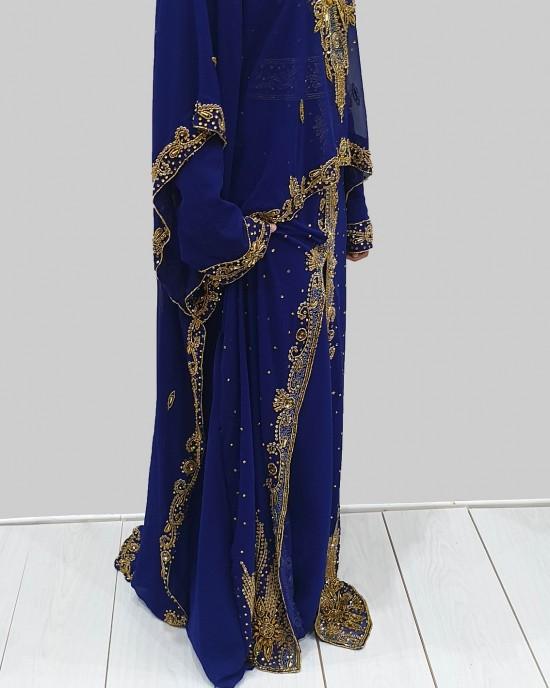 SAFWA ROYAL BLUE AND GOLD MOROCCAN KAFTAN - Occasion Kaftans - KAFTAN2024