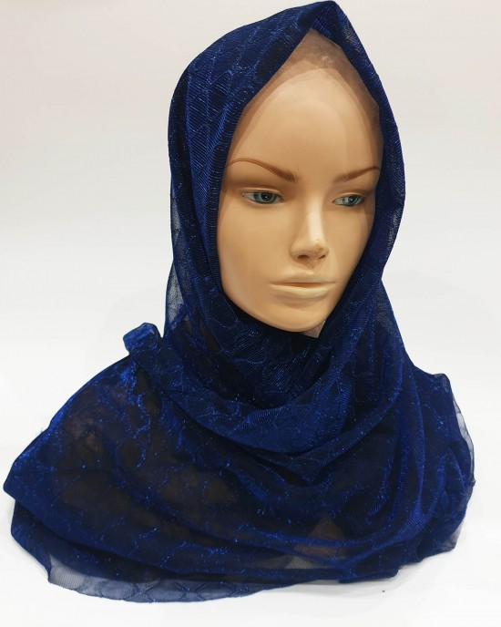 Navy Metallic Iridescent Hijab - Scarf - Occasion Hijabs - HIJAB205
