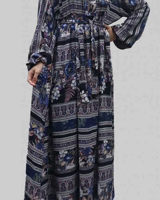 Soft printed cotton bow tie blue tone long sleeve maxi dress - Long Sleeve Maxi Dresses - DRESS005