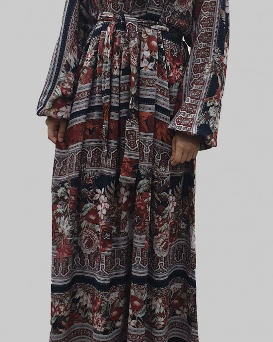soft printed cotton bow tie brown tone long sleeve maxi dress - Long Sleeve Maxi Dresses - DRESS004