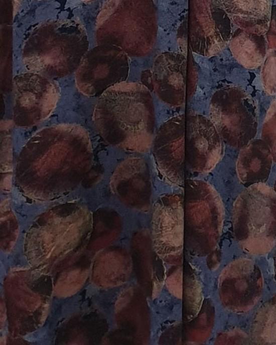 Soft printed cotton long sleeve plum tone pocket maxi dress - Long Sleeve Maxi Dresses - DRESS008