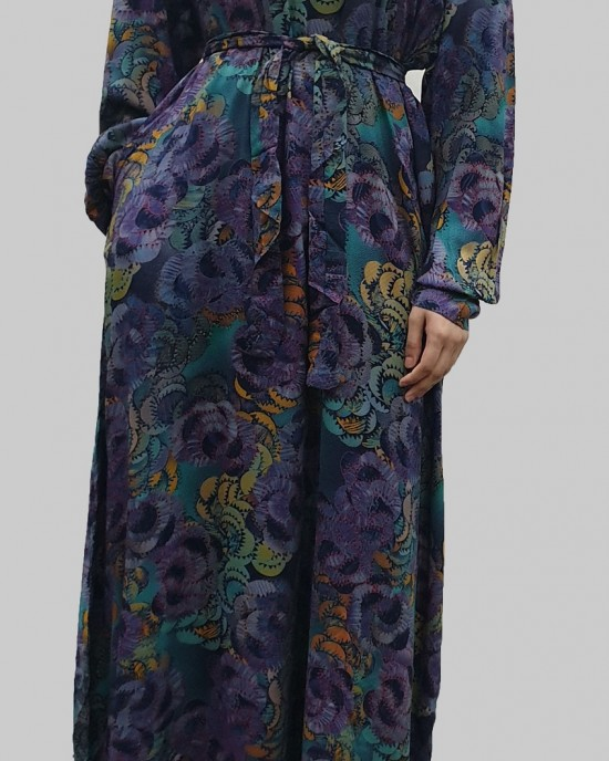 Soft printed cotton casual floral long sleeve maxi dress - Long Sleeve Maxi Dresses - DRESS009