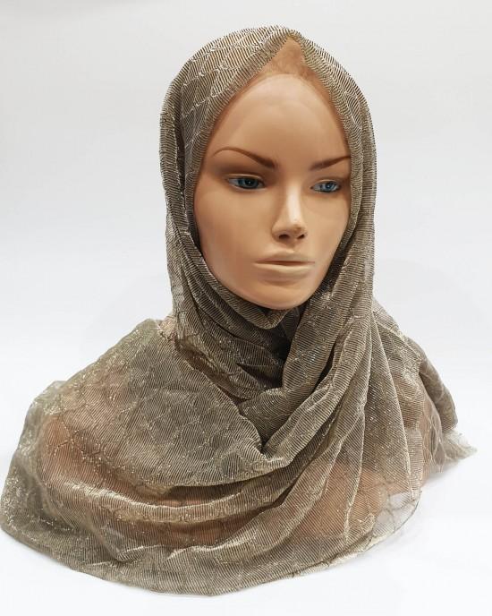 Nude Metallic Iridescent Hijab - Scarf - Occasion Hijabs - HIJAB207