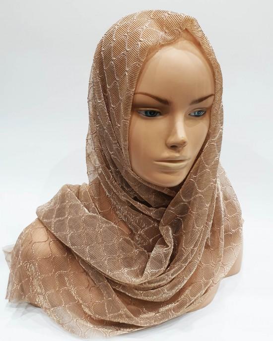 Nude Pink Metallic Iridescent Hijab - Scarf - Occasion Hijabs - HIJAB206