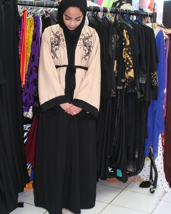 Amanis cream and black open abaya jacket style uk - Abayas - EX011